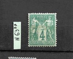 SAGE N°63 ** Neuf, 4c Vert (N/B) Neuf - 1876-1878 Sage (Tipo I)