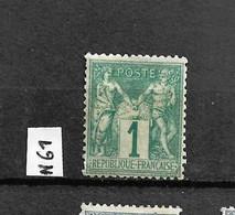 SAGE N°61 ** Neuf, 1c Vert (N/B) Neuf - 1876-1878 Sage (Tipo I)