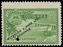 "(*) COSTA RICA - Poste Aérienne - 1, Non émis En Vert, Essai ""Waterlow"": 20c. Biplan - Costa Rica"