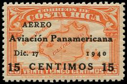 ** COSTA RICA - Poste Aérienne - 44K, Non émis (tirage 300): 15c. S. 25c. Orange - Costa Rica