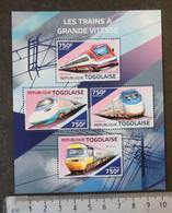 Togo 2014 High Speed Trains Railways Transport  Alfas Pendular China Star Acela Express Br Class 43 M/sheet - Togo (1960-...)