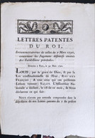 Lettres Patentes Du Roi Du 30 Mars 1790 - Decreti & Leggi