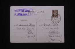 MAROC - Entier Postal Type Pétain De Fés Pour La France En 1942 Avec Cachet De Surtaxe Aérienne - L 98766 - Covers & Documents