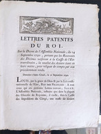 Lettres Patentes Du Roi Du 21 Septembre 1790 - Decreti & Leggi