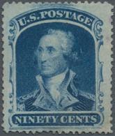 Vereinigte Staaten Von Amerika: 1857-61 'Washington' 90c Blue, Perf 15½, Unused Without Gum, Well Ce - Unused Stamps