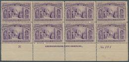 Vereinigte Staaten Von Amerika: 1893, 6c. Columbus, Plate Block Of Eight, Showing Marginal Inscripti - Unused Stamps