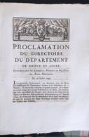 Proclamation Du Directoire Du Département De Rhône Et Loire Du 20 Juillet 1790 - Documenti Storici