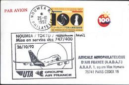 Nouvelle Calédonie Nouméa Tokyo Nouméa Barré Puis Paris Mise En Service Des 747 / 400 26 12 92 Air France UTA Avion - Lettres & Documents