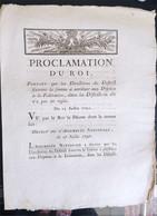 Proclamation Du Roi Du 23 Juillet 1790 - Decreti & Leggi