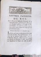 Lettres Patentes Du Roi Du 21 Septembret 1790 - Decreti & Leggi