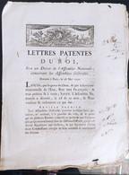 Lettres Patentes Du Roi Du 28 Mai 1790 - Decreti & Leggi