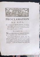 Proclamation Du Roi  Du 21 Septembre 1790 - Documenti Storici