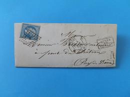 EMPIRE DENTELE 22 SUR LETTRE DE PARIS A PONT DU CHATEAU DU 1 MAI 1863 (LOSANGE B) - 1849-1876: Periodo Classico
