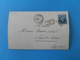 EMPIRE DENTELE 22 SUR LETTRE DE CLERMONT FERRAND A PONT DU CHATEAU DU 1 MAI 1867 (GROS CHIFFRE 1053) - 1849-1876: Periodo Classico