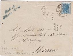 """1870 Busta Con Cent 20 Annullato """"Amb. Foggia-Bologna"""" E Corsivo Verde Di """"Porto Di Potenza Picena"""", Al Retro Manca Chiu - Marcofilía"""
