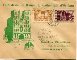 """INDOCHINE LETTRE AVEC REPIQUAGE """"CATHEDRALE DE HANOI & CATHEDRALE D'ORLEANS"""" DEPART HANOI B 25-12-44 TONKIN POUR LE..... - Covers & Documents"""