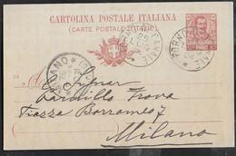 STORIA POSTALE REGNO - CARTOLINA POSTALE  UMBERTO (INT. 25/03) DA FORNO DI CANALE*25.LUG.04* PER MILANO - Marcofilía