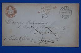 U2 SUISSE BELLE LETTRE  RARE  1870 GENEVE + RETOUR A L ENVOYEUR + P.D  + AFFRANCHISSEMENT PLAISANT - Brieven En Documenten