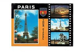 Cpm -  PARIS - Tour Eiffel - 1977 - Multivues - Pellicule Film - Blason - - Eiffelturm