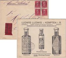 Bayern - 4x10 Pfg. Ludwig Illustr. Werbekuvert/Eilbrief Kempten - Dortmund 1917 - Bavaria