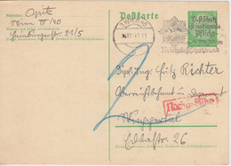 DR/Ostmark - 5 Pfg. Hindenburg Ganzsache Wien - Wuppertal 1940 Nachporto - Postwaardestukken