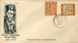 64587 India, Fdc 1961 Centenary Archeological Survey Of India, Calcutta 1961 - Archéologie