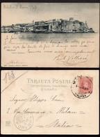 """Melilla - Edi O TP 243 - 1903 - Postal """"Melilla - Vista General"""" Mat """"Melilla 4/3/03"""" A Milán - Cartas"""