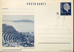 64594 Turkey, Stationery Card 15 Lira,surchaged, Roman Theatre Of Antalya,archeology, - Archéologie