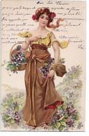 L330A0897 - Dessin D'enfants, Superbe Jeune Fille Avec Des Fleurs  - Carte Précurseur Et Gauffrée - Children's Drawings