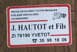 AUTOCOLLANT STICKER - J. HAUTOT ET FILS - PIÈCES DÉTACHÉES ÉLECTRICITÉ ACCESSOIRES - 76190 YVETOT - VOITURE AUTOMOBILE - Stickers