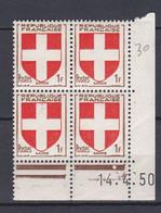 N° 836 Armoiries De Provinces: Savoie Coins Datés 14.4.50 - 1950-1959