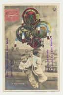 """Carte Fantaisie -militaire Patriotique - Bébés Dans Ballons """"drapeaux"""".... - Bebes"""