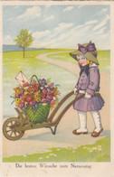 5665) NAMENSTAG - Mädchen Mit Schweibtruhe Mit Blumenkorb U. Herz Brief ALT !! Gel. KÖLN 10.10.1928 !! - Andere