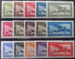 R2452/855 - 1942/1944 - COLONIES FR. - INDOCHINE - POSTE AERIENNE - SERIE COMPLETE - N°24 à 38 NEUFS* - Airmail