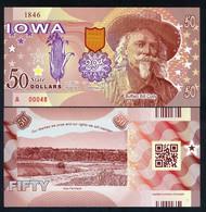USA States, Iowa 50 State $, Buffalo Bill Cody - Farmland - Polymer, ND - UNCIRCULATED - Other - America