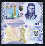 USA States, Oregon - Oregon Trail, $50, Polymer, ND (2018) Chief Joseph - UNCIRCULATED - Other - America