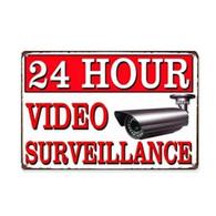 USA Danger Warning 24 Hour Video Surveillance Tin Metal Plate 30x20cm - NEW - Plaques En Tôle (après 1960)