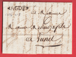 MARQUE AGDE HERAULT LN°8 1783 POUR LUNEL INDICE 9 - 1701-1800: Precursors XVIII