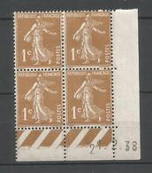 Coins Datés De France Neuf *  N 277 B  Année 1938  Charnière En Haut - ....-1929