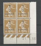 Coins Datés De France Neuf *  N 279 A  Année 1936  Charnière En Haut - 1930-1939
