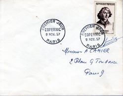 LETTRE 1ER JOUR FRANCE 1957 - COPERNIC -  SIGNEE PAR LE GRAVEUR DU TIMBRE JULES PIEL - - Other
