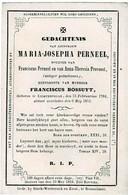 LICHTERVELDE - Maria PERNEEL  +1852  -  Echtg.  Franciscus BOSSUYT - Devotion Images