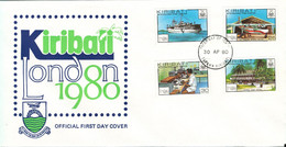 Kiribati FDC 30-4-1980 London 1980 Complete Set Of 4 With Cachet - Kiribati (1979-...)