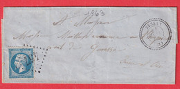 N°22 GC 457 BESSAN HERAULT POUR GONESSE SEINE ET OISE CAD TYPE 22 - 1849-1876: Klassieke Periode