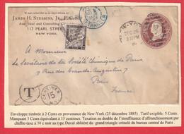 ENTIER USA ETATS UNIS NEW YORK 1885 POUR PARIS TAXE TYPE DUVAL 30C NOIR - Strafportbrieven