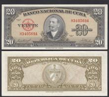 Kuba - Cuba 20 Peso 1958 Pick 80b AUNC (1-)    (25733 - Other - America
