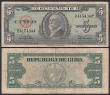 Kuba - Cuba 5 Peso 1960 Pick 92a F (4)    (25736 - Other - America