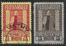 Austrian Offices In Levant Scott # 51-2 Used  Franz Josef, 1908 - Oriente Austriaco