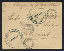 """CORPS D'OCCUPATION ANNAM TONKIN 1891 Cover From TOURANNE (ANNAM), With """"CORPS EXPre ANNAM-TONKIN"""" Hollow Postmark - Briefe U. Dokumente"""