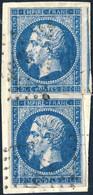 France - Paire Yv.14A 20c Bleu T.1 Impression Défectueuse TB Sur Petit Fragment - (ref.03m) - 1853-1860 Napoléon III